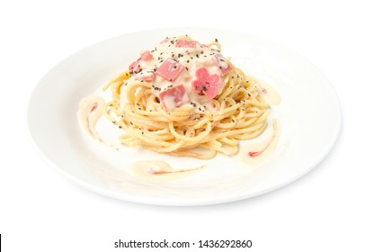 Spaghetti Carbonara onion and mushroom cream sauce with ham traditional Italian cuisine style side view  isolated on white background