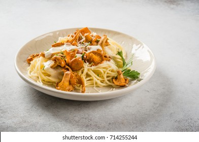 Spaghetti with chanterelles and cream sauce with copy space