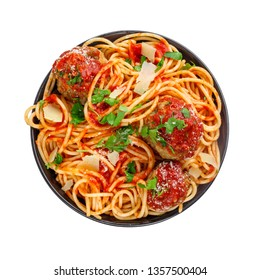 Spaghetti with meatballs, parmesan and tomato sauce in a bowl. Tasty Italian pasta food. Top view shot above isolated on white background.