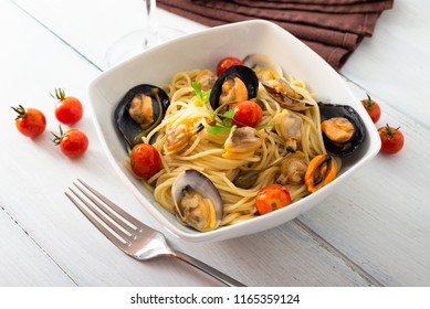 Spaghetti with mussels and clams, Mediterranean food