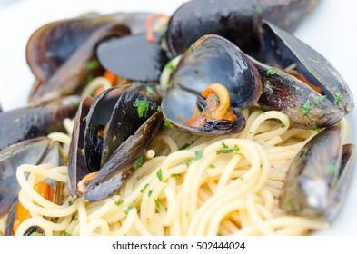 Spaghetti with mussels,seafood, Italian food.