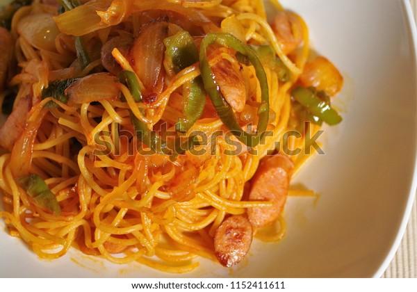 Spaghetti napolitan at home.