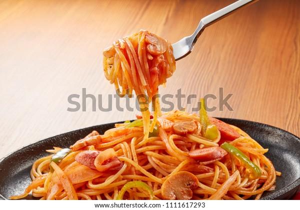 Spaghetti Napolitan Japanese Style Tomato Ketchup Food And Drink Stock Image 1111617293