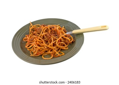 Spaghetti on green plate