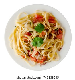 spaghetti on a plate. spaghetti tomatoes, onions  isolated on white background