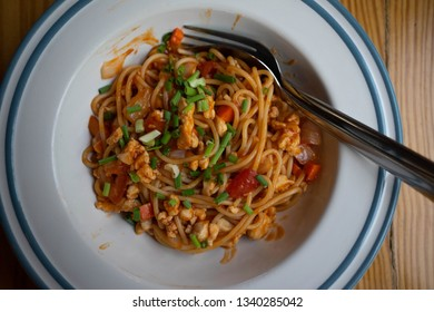 Spaghetti On the table in the restaurant