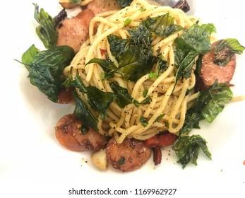 Spaghetti Pad Kee Mao With Kurobuta Pork Sausage - Thai Applied Cuisine