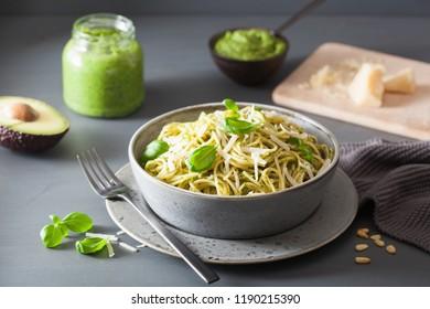 spaghetti pasta with avocado basil pesto sauce