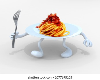 spaghetti pasta dish with arms, legs and fork on hand, 3d illustration