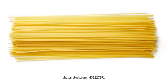 Spaghetti pasta isolated on white background, top view