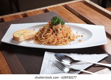 Spaghetti pasta noodle Italian food on restaurant table