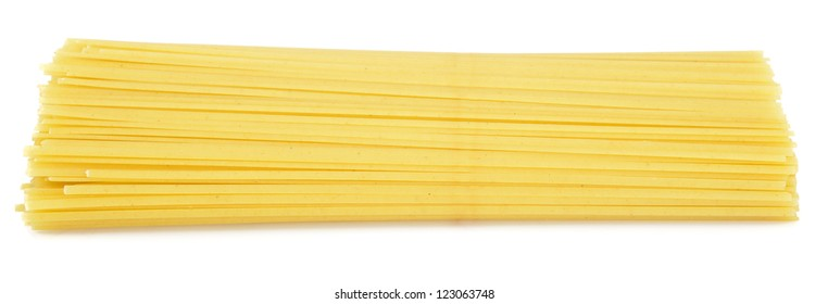 Spaghetti pasta from side isolated on white background