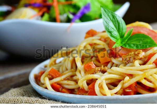 Spaghetti Pasta Tomato Beef Sauce Stock Photo Edit Now