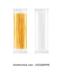 Spaghetti pasta transparent plastic bag package, isolated on white background. Packaging template mockup collection.