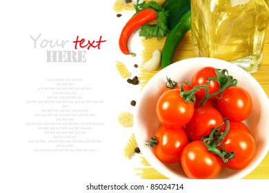 Spaghetti, paste, spices, pepper, oil. A place for your text.