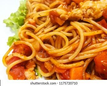 Spaghetti with Pork Tomato Sauce