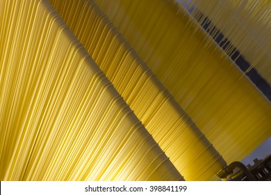 Spaghetti processing in a pasta Factory in Italy