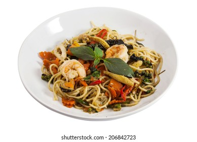 Spaghetti sauce drunken shrimp. Hot and spice in thai food.