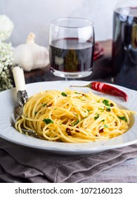 Spaghetti with spicy red pepper, garlic, olive oil. Traditional Italian pasta dish