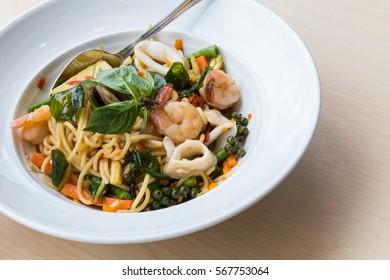 Spaghetti spicy seafood with basil  (Pad Kee Mao)