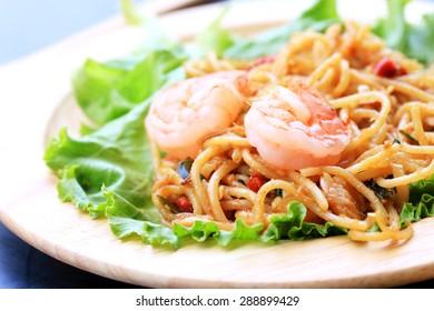 Spaghetti spicy shrimp.