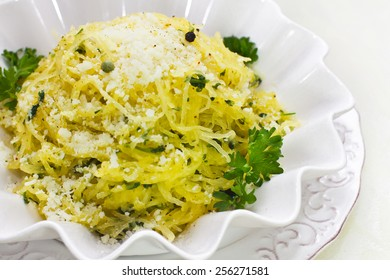 Spaghetti squash with parmesan, pepper and parsley