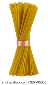 Spaghetti tied with a ribbon on isolated background