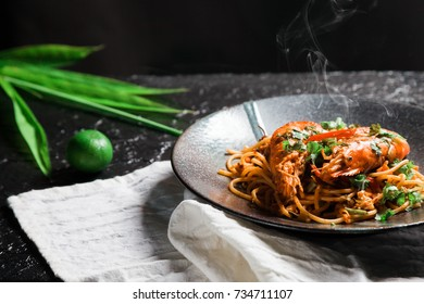 Spaghetti Tom Yum Goong, a fusion of Italian food. And most popular food in Thailand.