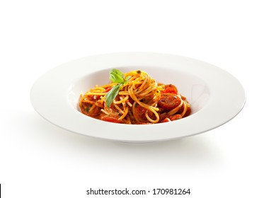 Spaghetti with Tomato and Basil Leaf