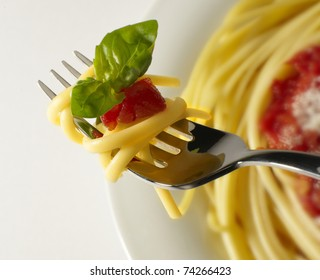 spaghetti with tomato sauce with fork