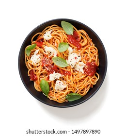 Spaghetti with  tomato sauce, parmesan and mozzarella cheese decorated with basil.isolated on white background