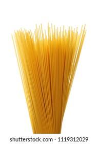 Spaghetti, yellow pasta isolated on white
