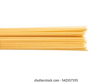 Spaghetti - yellow pasta, ready for cooking. isolated on the white background, horizontally.