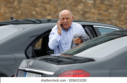 A Coruña, Spain .07/24/2015. Amancio Ortega Gaona, founder of the Inditex (Zara) empire talking on the phone