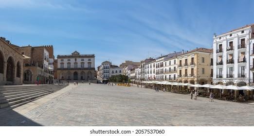 Cáceres Spain - 09 12 2021: Amazing panoramic view at the Plaza Mayor in Cáceres city downtown, Ayuntamiento de Cáceres, Arco de la Estrella and other heritage buildings