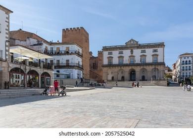 Cáceres Spain - 09 12 2021:View at the Plaza Mayor in Cáceres city downtown, Ayuntamiento de Cáceres, Arco de la Estrella and other heritage buildings