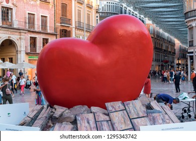 MÁLAGA, SPAIN - 23.5.2018: Photo of the huge heart in the main square of Málaga.