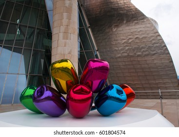 Spain, 27/01/2017: details of the Tulips, a bouquet of multicolor balloon flowers sculpture made by the artist Jeff Koons and located at the exterior of the Guggenheim Museum Bilbao