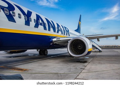 SPAIN, ALICANTE. 20 OCTOBER 2018 -  The Ryanair plane (boing 737) prepares for the departure of the airport (ALC) Alicante. Ryanair is the largest low cost airline in the world.