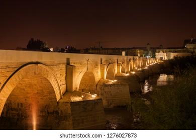 Spain, Andalusia, Cordoba, Roman Bridge (Puente Romano) illuminated at night on Guadalquivir River