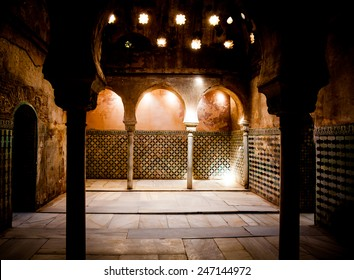 Spain, Andalusia, Granada. Interior of Arabic Bathroom in Alhambra Palace