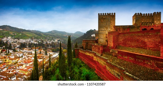 Spain, Andalusia / Granada - March 17, 2018: Alhambra - ancient arabic fortress and architectural and park ensemble located on a hilly terrace in the eastern part of Granada in Southern Spain