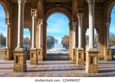 Spain, Andalusia, Seville, foreshortenings of the architectures of Plaza de  Espana
