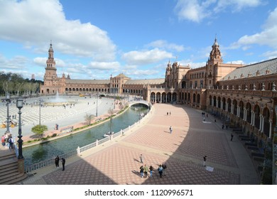 Spain, Andalusia / Seville – March 29, 2018: Seville's Plaza de España in Andalusia is one of the most spectacular architectural spaces in the city and Neo-Moorish architecture.