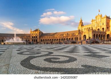 Spain, Andalusia, Seville. Plaza de Espana