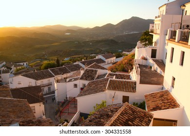 SPAIN, ANDALUSIA ZAHARA: Sunset in beautiful Spanish town: Zahara in Andalusia. It is considered to be one of the pueblos blancos or white town.