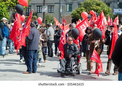 SPAIN - APRIL 29: Groups of people, together with the main unions, protest against welfare cuts in health and education, approved by the Government of Spain on April 29, 2012 in Pontevedra, Spain.