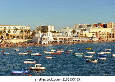 Cádiz, Spain - Aug 4, 2011: Panoramic view of La Caleta beach, Cadiz beaches, Andalusia, Spain