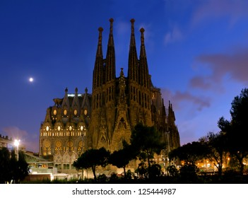 SPAIN - AUGUST 24: La Sagrada Familia in night - cathedral designed by Antoni Gaudi, which is being build since 1882 and is not finished yet August 24, 2012, in Barcelona, Spain.