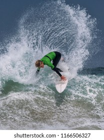 Pantín, Spain - August 26, 2018: The surfer Samson Coulter in the World Qualifying Series of the World Surf League Pantin Classic Pro